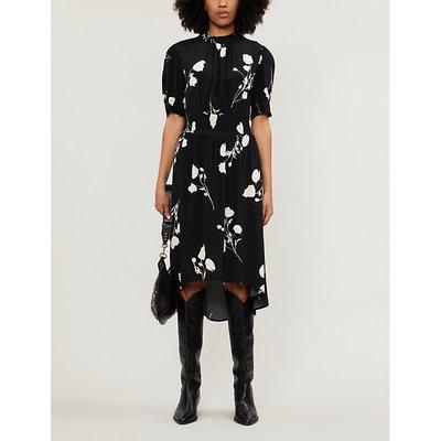 Ba&Sh Black Noir Poppy Crepe Midi Dress