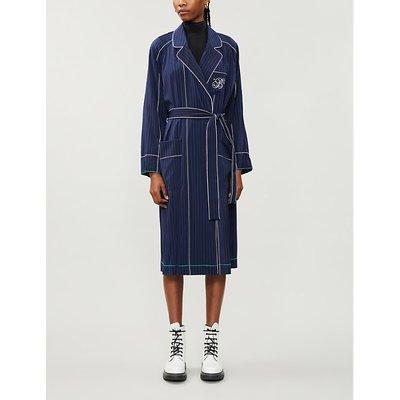 Pinstriped stretch-satin midi dress