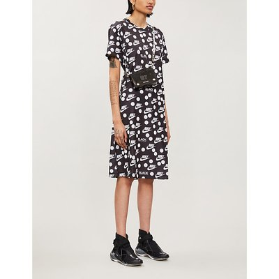 Black Comme des Garçons x NIKE logo-print woven midi dress