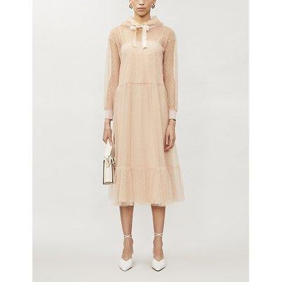 Polka-dot pattern hooded lace midi dress
