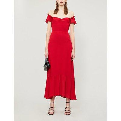 Butterfly short-sleeved crepe midi dress