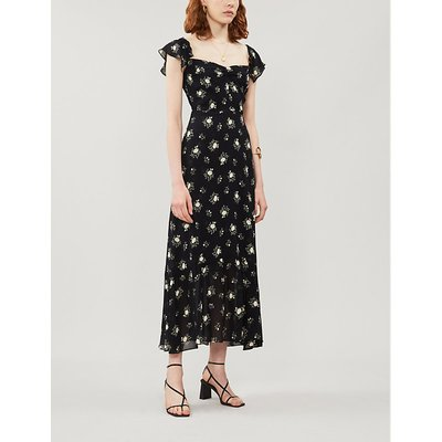 Butterfly floral-print crepe midi dress
