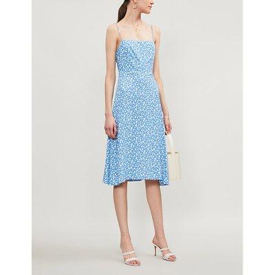 Reformation Peach Floral-Print Crepe Midi Dress