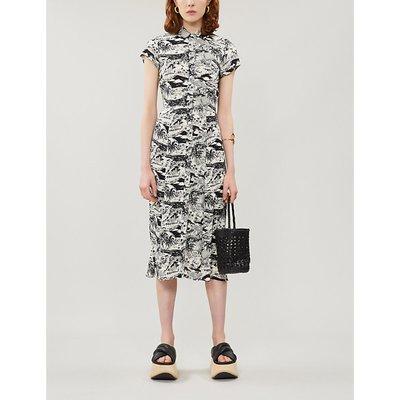 Wilma graphic-pattern crepe midi dress