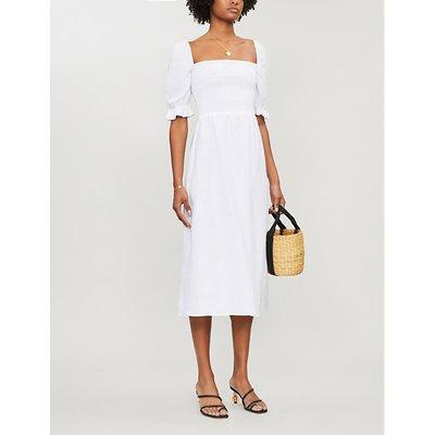 Reformation Marabella Flared-Cuffs Linen Midi Dress