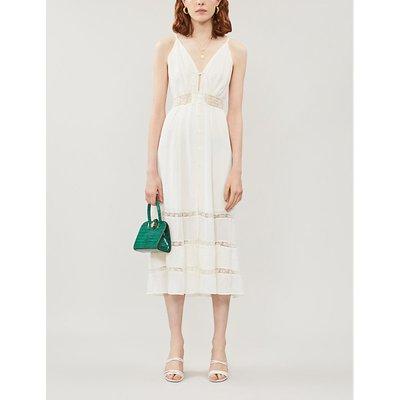 Shelley floral-lace trimmed crepe midi dress
