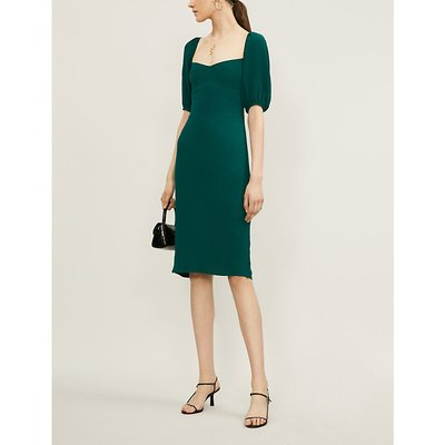 Jan puffed-sleeve crepe midi dress
