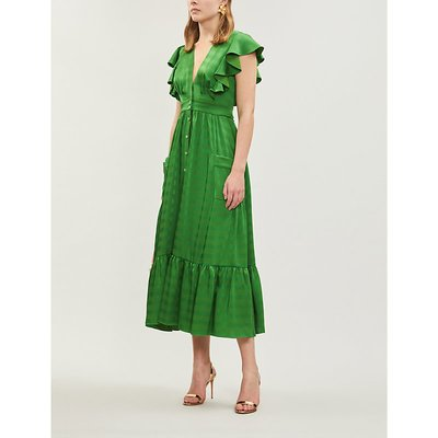 Gaia ruffled embroidered satin midi dress