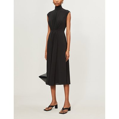 Valencia high-neck stretch-crepe midi dress