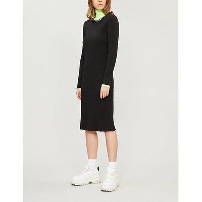Ribbed midi ctretch cotton jersey dress