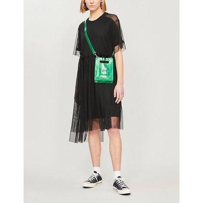Jersey and mesh short sleeved midi dress