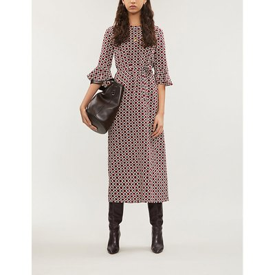 Cremona ruffled-cuffs silk midi dress