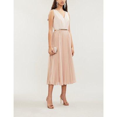 Vorra embroidered sleeveless crepe midi dress