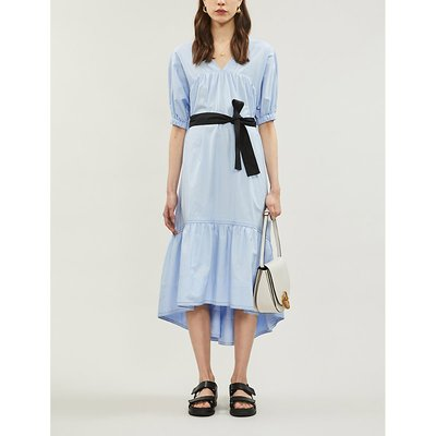 Tiered gathered cotton-poplin midi dress