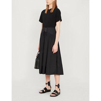 Corset-waist cotton midi dress