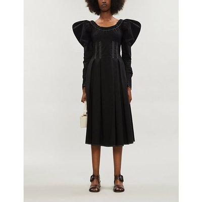 Carla puffed-sleeve cotton-blend midi dress