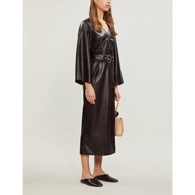 Iben belted vegan-leather midi dress