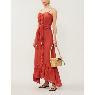 Buttoned-down belted linen-blend midi dress