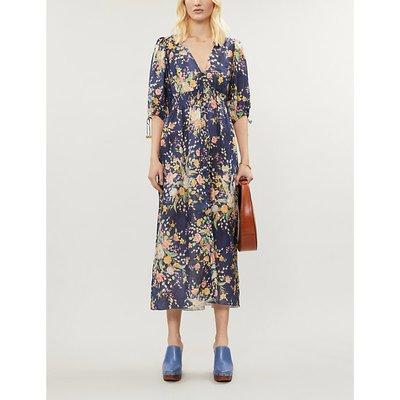 Zinnia floral-print linen midi dress