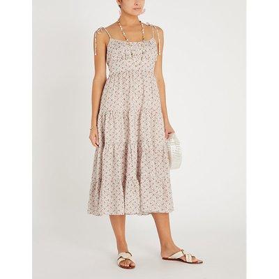 Zimmermann Pink Heathers Floral-Print Linen Midi Dress