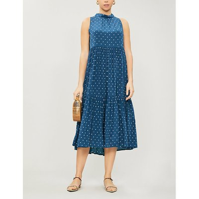 High-neck silk-crepe midi dress