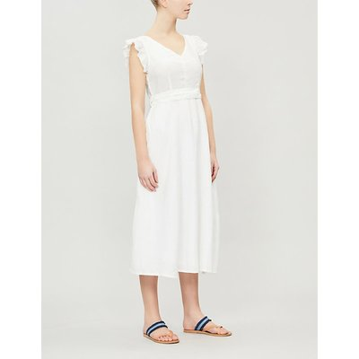 Sophia bow-embellished linen midi dress