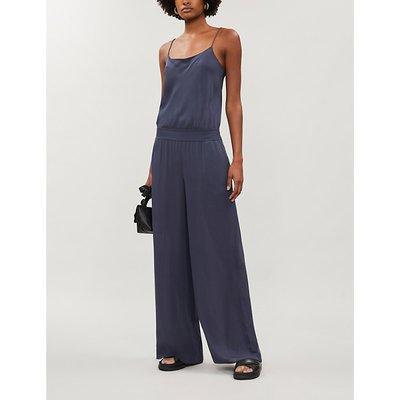 Scoop-neck wide-leg silk-crepe jumpsuit
