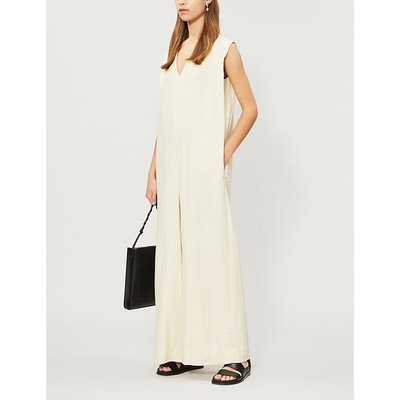 Sleeveless wide loose-fit woven jumpsuit