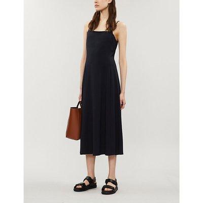 Theory Square Neck Stretch-Cotton Blend Midi Dress