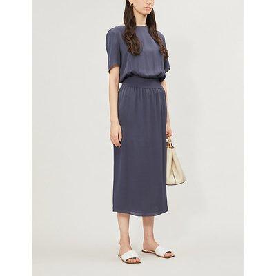 Ribbed-detail silk-crepe dress