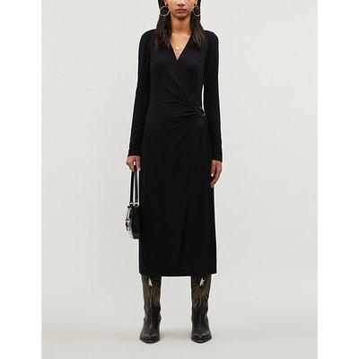 Paige Black Cedar Stretch-Jersey Wrap Midi Dress