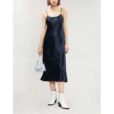 Vince Sleeveless Satin Slip Midi Dress