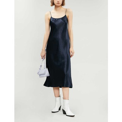 Sleeveless satin slip midi dress