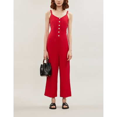 Teresa strappy linen and rayon-blend jumpsuit