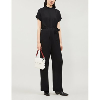 Kimberly belted wide-leg crepe jumpsuit