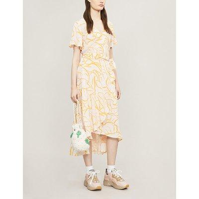 Veneto floral-print asymmetric crepe midi dress