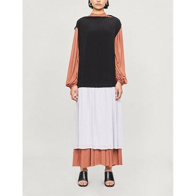 Contrast boat-neck crepe dress