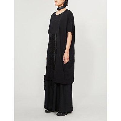 Ys Lace-appliqué cotton-jersey midi dress