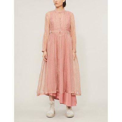 Crinkled A-line silk midi dress