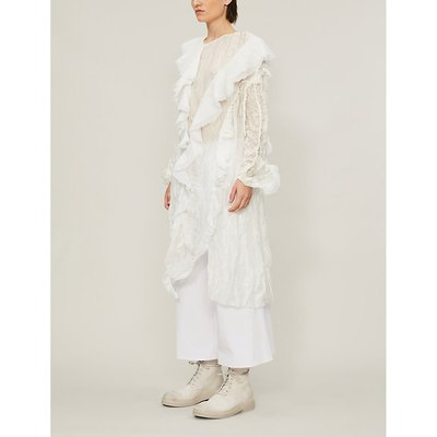 Loose-fit floral-pattern lace midi dress