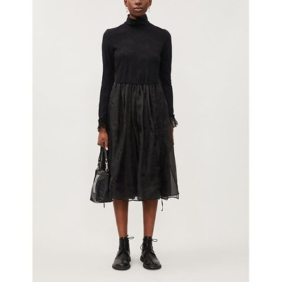 Turtleneck relaxed-fit wool-blend midi dress