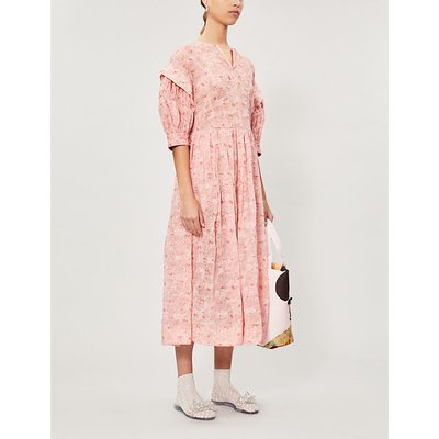 Renli Su Puffed-Sleeve Floral-Print Linen And Silk-Blend Midi Dress