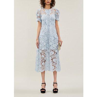 Self-Portrait Puff-sleeve floral-lace midi dress