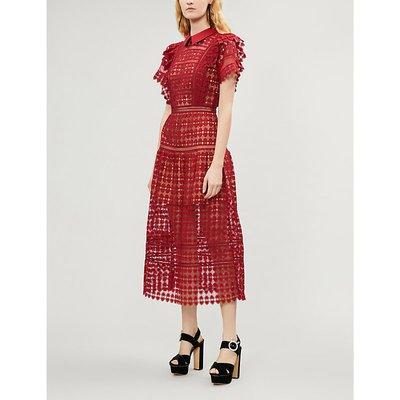 Heart-shaped guipure lace midi dress
