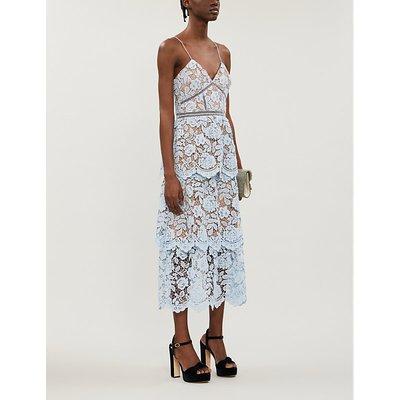 Self-Portrait Tiered floral-lace midi dress