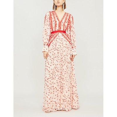 Self-Portrait Ladies Cream and Red Crescent-Print Chiffon Maxi Dress