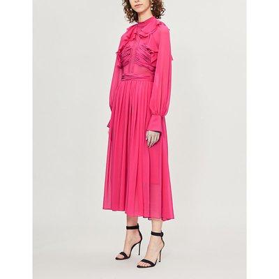 Self-Portrait Ladies Fuchsia Pink Flared Chiffon Midi Dress
