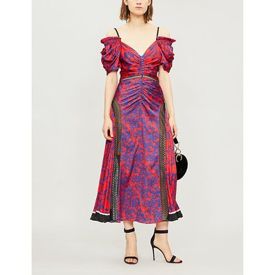Off-the-shoulder lace-panelled printed satin midi dress