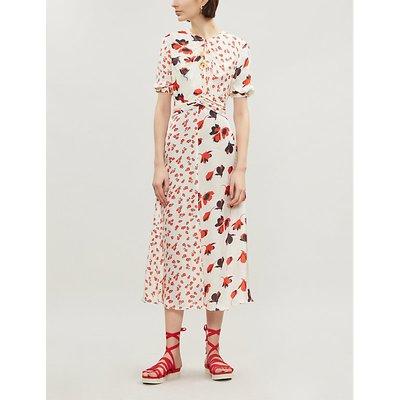 Mixed floral-print crepe dress