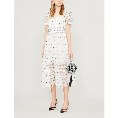 Short-sleeved floral-lace midi dress